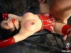 My red spandex slave lady