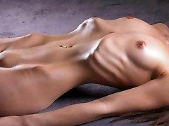 Lean woman shows her ribs