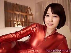 Costume Play catsuit Asuna Langley cum gulping