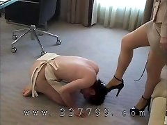 The Femdom makes marionette to lick the boot sole