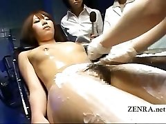Freaky Asian medical exam with nude female patient