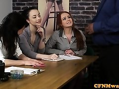 Casting CFNM doll agent tugging black pipe