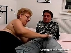 A big grandma has sex