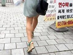 Upskirt Stairs: Hot Asian With Massive Mangos
