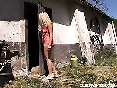 Blond legal age teenager gets nailed in the barn