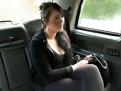 British bbw fucked in faux taxi in public