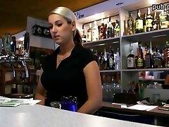 Big jugs bartender girl fucked at work