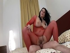Overweight milf in red fishnet
