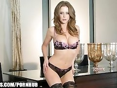 Big-boobed brunette pornstar Emily Addison blows a load on her fucktoy