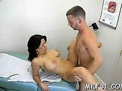 Delicious milf is coating stud's biggest pecker with saliva