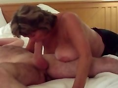 Busty Mature Swallows All of Huge Youthful Cock