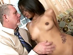 Delightful Indian bombshell Ruby Rayes plays with big cock of old man