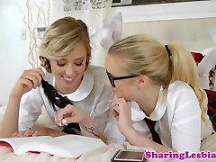 Girl/girl schoolgirls scissor after fingering