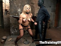 Slave wannabe Holly Heart is shaping up to be quite the little anal slut.  This MILF doesn't disappoint, she's done her homework and she's learning the House Rules. Still she needs some work, a cattle prod or two to the pussy will keep her in line until she takes the gimp's huge cock in her ass with gratitude.  You're improving, Holly, but there's still work to be done.