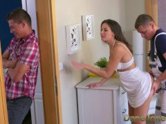 Dane Jones Cheating black-haired wife is humped and creampied by plumber