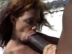 Big brown nipples &Big brown spear on the beach.