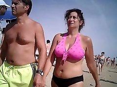 Big bra-stuffers in swimsuit mature at beach