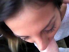 Molten Romanian girl in backseat oral job