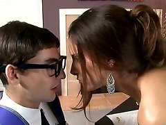 Breasty raven haired sweetie blows smelly shlong of her young teacher greedily