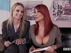 Ava Devine and Natasha Starr in office three-some