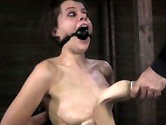 Nipple fellated bitch getting caned