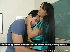 Busty brown-haired tutor at school going through an earthquake