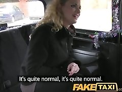 FakeTaxi Curly hair platinum-blonde takes it from behind in taxi