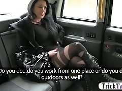 Humungous tits passenger fucked and cum facial by horny driver