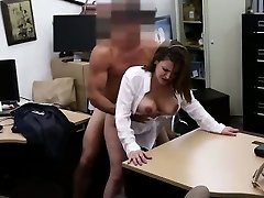 Huge-boobed brunette babe getting fucked at the pawn shop
