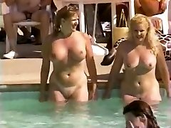 Hairy inborn pussies at pool party