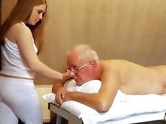 Oldman fucks young masseuse blows a load in her mouth