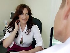 Mature hungry boss mouth fucks big boobed brunette strumpet in his office stiff