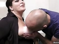 Office sex with big-boobed secretary in stocking