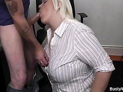 Hot blonde assistant office bang
