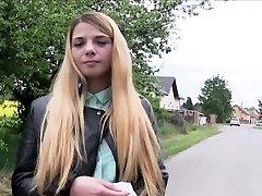 Czech ash-blonde showcasing nice tits outdoor