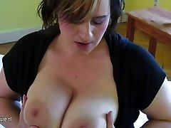 Huge-chested elderly mother dreaming of young cock