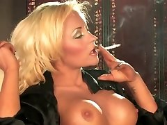 Torrid Sexy Busty Blonde Solo Smoking and Teasing