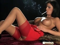 Super-steamy Beautiful Busty Brunette In Heels Smoking and Playing