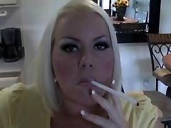 Hot Big-chested Platinum-blonde MILF Smoking Solo