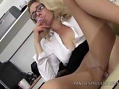 Posh Office Boss Sapphire Blue wants some overtime!
