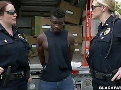 Caucasian police girls fucks dark-hued scofflaw in threesome