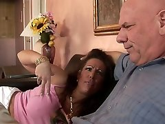 Hungry MILF with huge tits rides dude's fat cock on the sofa