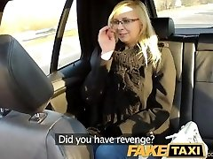 FakeTaxi Cab driver porks glasses blonde on backseat