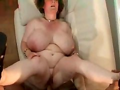 Granny with giant titties.belly & glasses