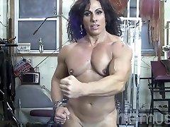 Annie Rivieccio Naked Female Bodybuilder in the Gym