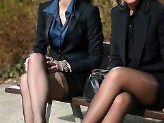 2 youthful spectacular secretaries in vintage stockings & garterbelt