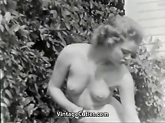 Nudist Doll Feels Good Naked in Garden (1950s Vintage)