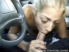 Melody Love gives blowjob in van
