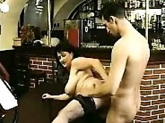 Brunette in pantyhose deep throats big cock and fucks it