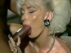 Vintage Busty platinum golden-haired with Two BBC facial